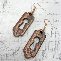 Bronze and black marbled key lock plate or Escuctheon earrings