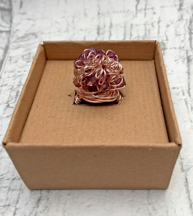 Amethyst Bicone crystal and rose gold wire scrunchy wrapped cocktail ring
