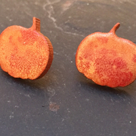 Mini orange wooden pumpkin stud earrings Autumn Halloween