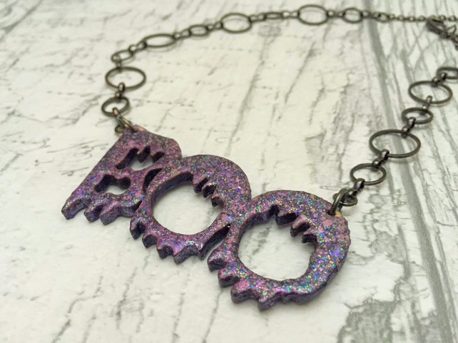 BOO Word Necklace purple sparkly Halloween