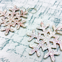 Opal marbled Snowflake statement dangle earrings