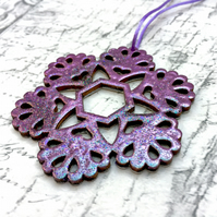 Purple marbled wooden snowflake tree decoration in jewel enamel