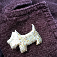 Scotty Dog Brooch with pale silver, gold and pale copper marbled jewel enamel
