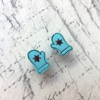 Winter blue snowflake mittens stud earrings