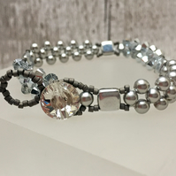 Swarovski silver crystal bicone and glass pearls bracelet winter sparkle