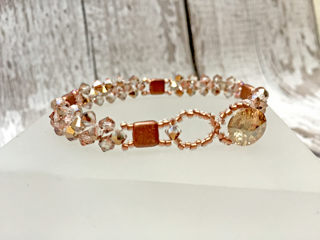 Crystal Bicone beaded bracelet in crystal Capri gold and copper tones
