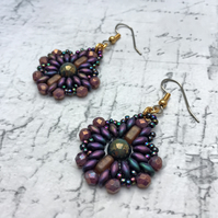 Metallic Purple beaded medallion style dangle earrings