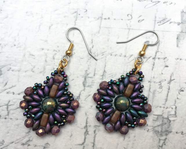 Metallic Purple beaded mandala style dangle earrings