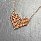 Rose Gold bicone crystal beaded heart pendant