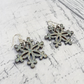 Green sparkle Snowflake dangle earrings winter inspired rustic country charm