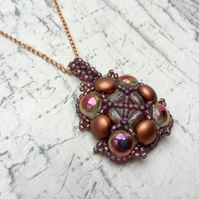 Copper and Purple Candy Bead Mandala Pendant hand beaded