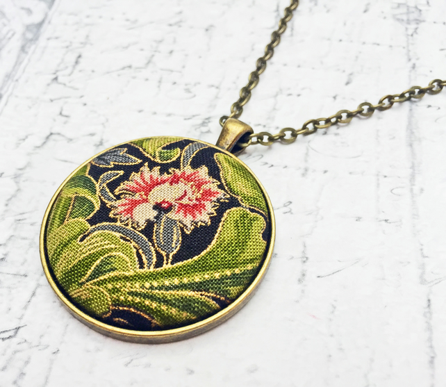 Carnation William Morris fabric button pendant antique bronze chain