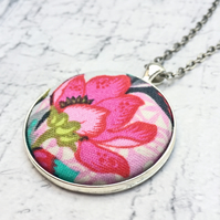 Statement Fantasy Flower fabric button pendant hot pink
