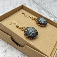Blue flower fabric button dangle earrings William Morris Persian pattern Indigo