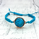 Teal blue Vintage gemetric button macrame adjustable bracelet