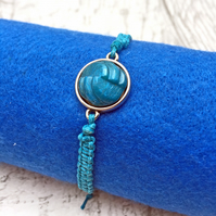 Vintage geometric button macrame adjustable bracelet teal blue