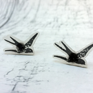 Swallow stud earrings hand stamped shrink plastic