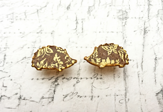 Wooden Hedgehog stud earrings with gold butterflies Japanese washi paper
