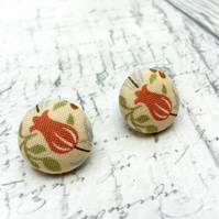 Russet Tulip fabric button stud earrings William Morris pattern