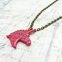 Unicorn wooden pendant pink and glitter embossing enamel antique bronze chain
