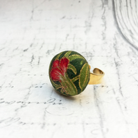 Deep pink flower William Morris fabric button adjustable ring