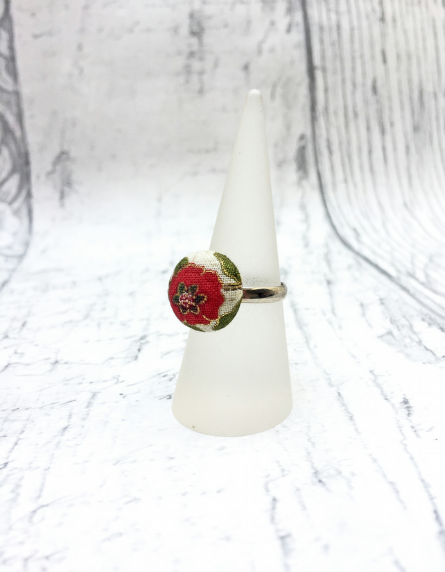 Red flower cream fabric button adjustable ring William Morris pattern