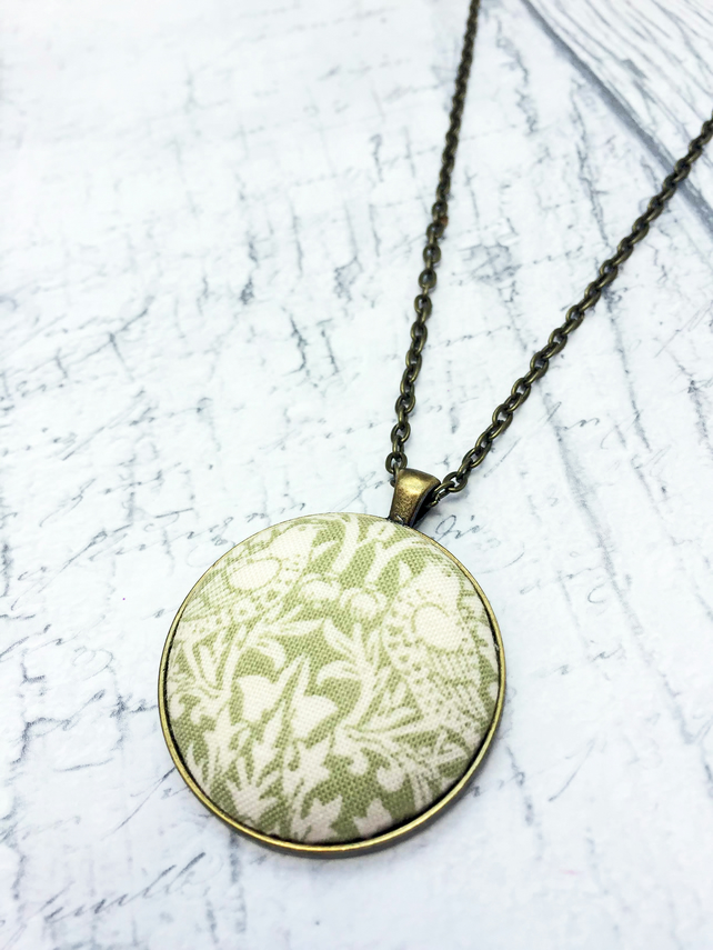 Birds William Morris fabric covered button large pendant