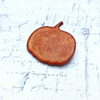 Autumn orange pumpkin wooden brooch