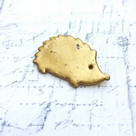 Wooden Hedgehog brooch in gold embossing enamel wildlife lover