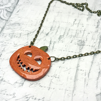 Orange wooden Halloween Pumpkin or Jack-o-Lantern pendant