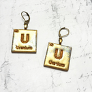 Chemical Element Uranium scrabble tile wooden dangle earrings