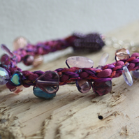 Purple flower & beads braided bracelet