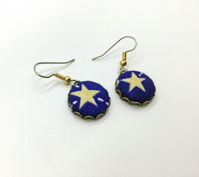 Star fabric button dangle earrings blue and gold antique bronze