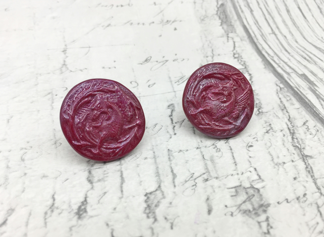 Red  and plum Griffin stud earrings vintage button mythology inspired