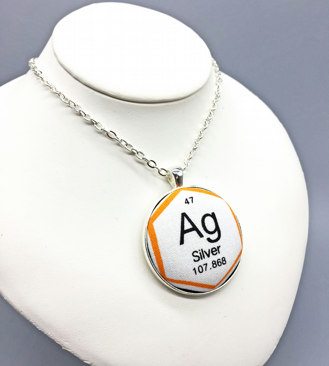 Periodic Table - Silver - fabric button pendant chemical element science geek