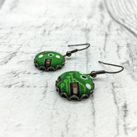 Electrical circuit board fabric button dangle earrings in green science lover