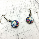 Bird Liberty Print Willaim Morris Strawberry Thief fabric button dangle earrings