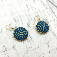 Dark blue with gold swirls Gustav Klimt inspired fabric button dangle earrings