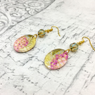 Hydrangea in pink mauve Japanese Washi paper and acrylic oval dangle earrings