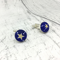 Constellations Star fabric button cufflinks silver plated finish