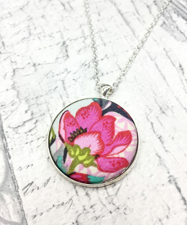 Pink statement retro style flower fabric button pendant silver plated finish