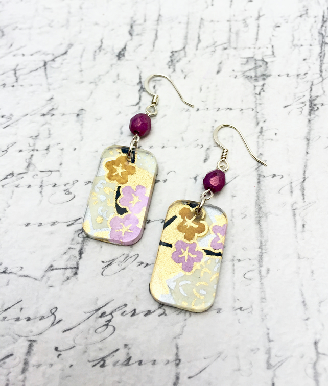 Mauve and Yellow Blossom Japanese Washi paper and acrylic oblong dangle earrings