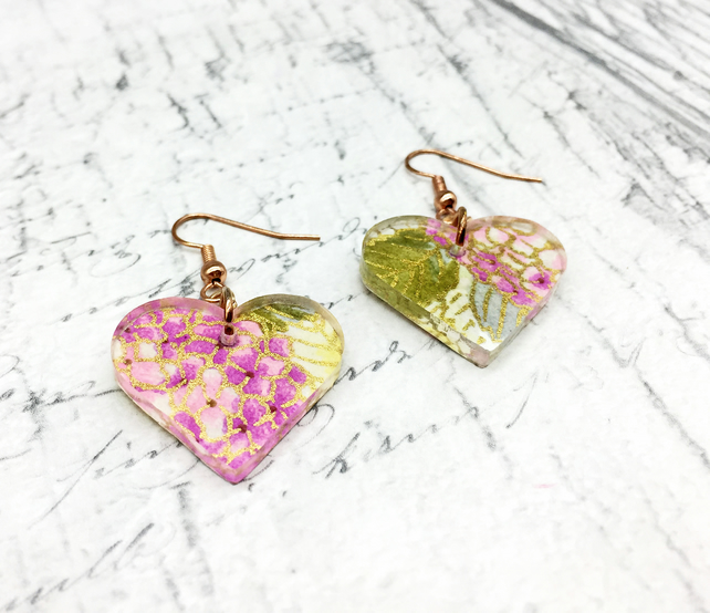 Hydrangea heart shaped Japanese washi paper and acrylic dangle earrings