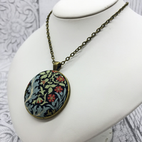 Autumn Flowers and blue foliage William Morris fabric button pendant