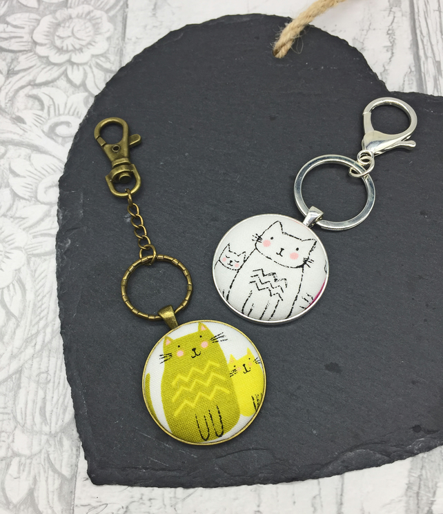 Cat and Kitten fabric button keyrings or bag charms in white or green