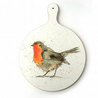 Robin Chopping Board - Christmas Gift, Cheeseboard, Melamine, Watercolour