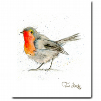 Robin Tea Towel - Christmas Kitchen Gift, 100% Cotton, Made in England