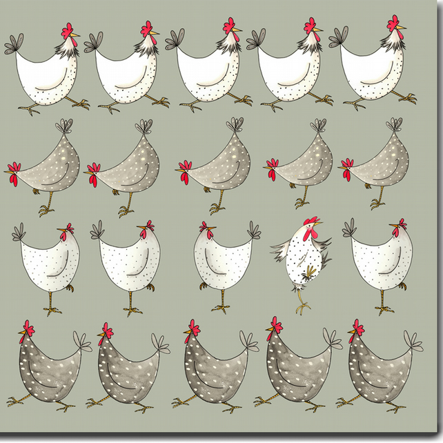 Multi Chicken Card - Sage Green - Blank inside, Barnyard Birthday Card