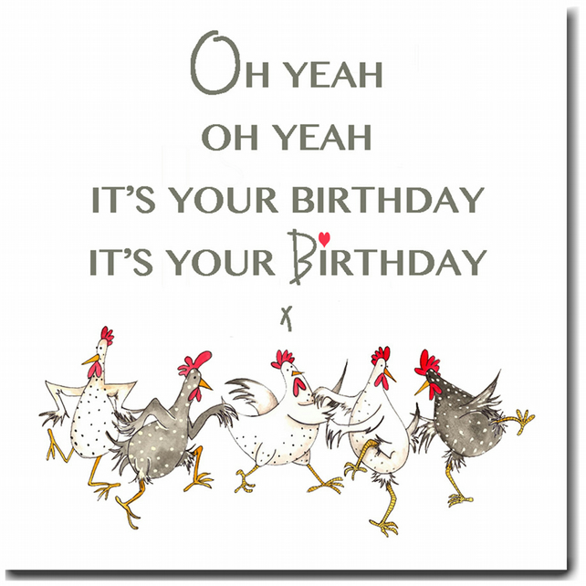 Fun Chicken Birthday Card - Oh Yeah - Blank inside