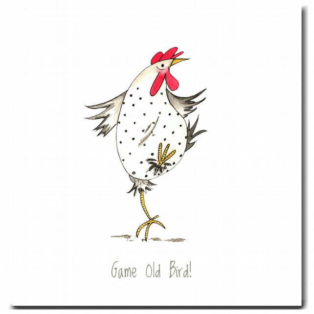 Fun Chicken Card - Game Old Bird - Blank inside, Birthday, Friend